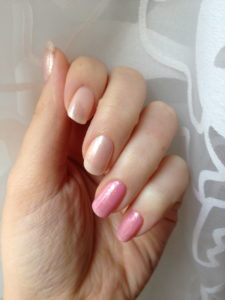 glass pink over CG heaven and OPI heart throb