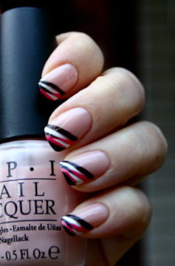 stripey french manicure